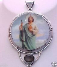 Estate Sterling Silver 925 ) St Jude Handcrafted Pendant