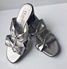 ITALIAN SHOEMAKER Leather Slip On Heel Sandal Strap Ladies Size 7.5 Women's 38 J