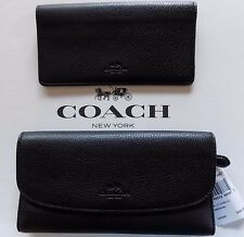 NWT Coach Pebble Leather Checkbook Wallet  BLACK $250 Beautiful F56488