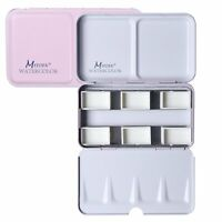 MEEDEN Watercolor Tins Box Palette Paint Case, Large Pink Tin with 48 Pcs Pans