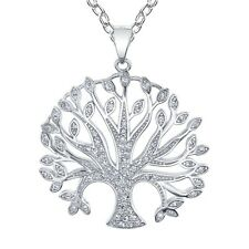 "Sterling Silver Family Tree of Life CZ Pendant Necklace with 18"" Silver Chain"