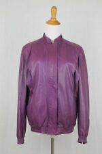Vintage Charles Jordon Paris Purple Leather Moto Jacket Made in France 36 Small