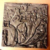 Boxed Vintage German Eickhoff-Gieberei Cast Iron Mining Plaque/Tile/Trivet VGC