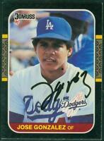 Original Autograph of Jose Gonzalez of the LA Dodgers on a 1987 Donruss Card