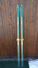 "VINTAGE Wooden 75"" Long Green + Wood Color Skis Signed SPLITKEIN + Bamboo Poles"