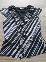 BLACK/WHITE STRIPED SLEEVELESS LINED BLOUSE/TOP SIZE 8 PLANET