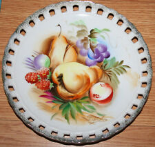 Japan Art Pottery Reticulated Hand Painted T. Itoh Porcelain Plate Fruit Pattern