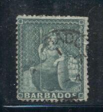 BARBADOS 39 SG58 Used 1873 1/2p grn Britannia Clean Cut Perf 14&1/2 Wmk Cat$30