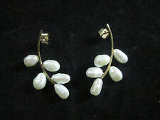VINTAGE 14K YELLOW GOLD PEARL EARRINGS