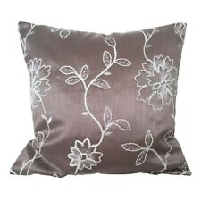 "Satin Salmon Flower Embriodery 18x18"" Decorative/Throw Pillow Case/Cushion Cover"