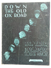 1933 Down the Old Ox Road as Sung By Bing Crosby College Humor Sheet music