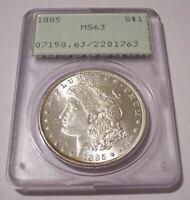 1885 Morgan Silver Dollar MS63 PCGS Rattler Holder