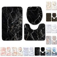 Marble Pattern Bathroom Set Non-Slip Rug Lid Toilet Cover Mat 3pcs Decoration