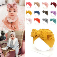 Newborn Turban Hat Cotton Baby Infant Toddler Kids Bowknot Beanie Indian Cap UK