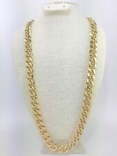 Cuban Link Chain Gold Plated 30 inch long 15mm wide BOX LOCK w Matching Bracelet