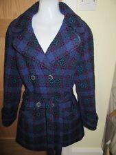 Vintage Christan Wool coat blue & purple similar to Welsh Tapestry  size 8/10