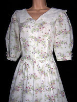 LAURA ASHLEY VINTAGE WILD BOUQUET EMBROIDERED VOILE COLLAR SUMMER DRESS 14 UK