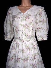 LAURA ASHLEY VINTAGE WILD BOUQUET EMBROIDERED VOILE COLLAR SUMMER DRESS 14 UK