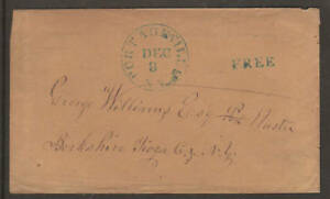 US, 1856 Stampless Cover, blue PORTAGEVILLE, NY CDS & FREE