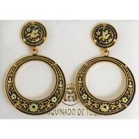 Damascene Gold 28mm Round Dove of Peace Drop Earrings by Midas of Toledo Spain