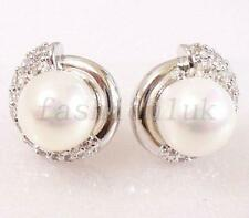 White Gold Plated Wedding Xmas Manager Party Queen CZ Shell Pearl Stud Earrings