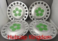 1998-2005 VW BEETLE Bug Wheel Center Cap SET with GREEN DAISY Flowers