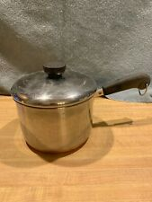 VINTAGE REVERE WARE COPPER CLAD EXTRA DEEP 2 QT SAUCEPAN WITH LID