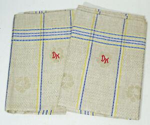 2 Lin Linges à Vaisselle 48,5 X 100 CM Multicolore Fleurs Modèle Monogramme ! (1