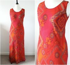 Vintage 1990s Grunge Maxi Dress Hippy Red Summer Holiday Beach Cover Dress 12 14