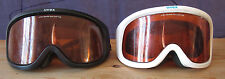 Two Uvex Ski Googles. One Black Pair One White Pair. Distressed. Youth size.