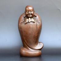 Chinese old collection handwork red copper Maitreya Buddha statue