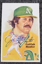 Jim Catfish Hunter Signed Autographed HOF Perez-Steele Postcard Baseball MLB
