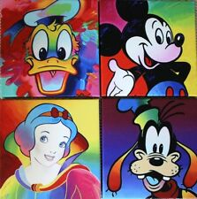 4 - DISNEY CHAR, in the STYLE of PETER MAX, Mickey, Donald Goofy Cinderella