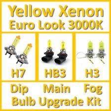 Warm White 3000K Yellow Xenon Headlight Bulb Set Main Dip Fog H7 HB3 H3 Kit