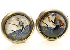 Fisherman Painted Man Fishing Under Glass Cab Vintage Gold Toned Cufflinks*A415