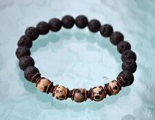 8mm Black Lava Basalt Dalmation Wrist Mala Beads healing bracelet