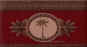 Raymond Waites Plantation Medallion Tropical Palm Tree Wallpaper Border Burgundy