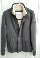 Abercrombie & Fitch Gray Cotton Sherpa Lined Full Zip w/ Buttons Jacket Medium