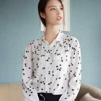 Slim Fit Fashion Real SILK SHIRT Black Star Print Blouse Tops 2019 b8