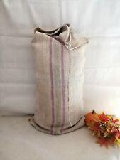 More details for vintage french linen grain sack upholstery laundry bag bathmat santa sack