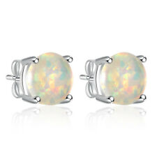 Silver White Fire Opal Women Jewelry Gift Birthstone Stud Earrings 8mm OH1889