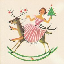 Mcm Rockin' Lady Pink White Stripe Dress Reindeer Norcross Vtg. Christmas Card