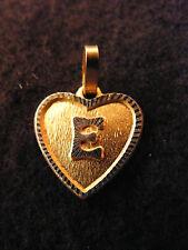Ciondolo Cuore Medaglione d'Oro Placcato Lettera E 1,5 cm