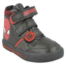 de niño MARVEL SPIDERMAN gatear Botas Rojo Negro Zapatillas High Top Talla 1-7