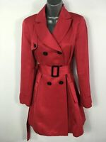 WOMENS TM LEWIN WOMAN RED DOUBLE BREASTED BELT TRENCH CAROLYN RAINCOAT SIZE XSM