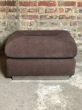 Bout de canapé / pouf en tissus marron et inoxydables 80'S