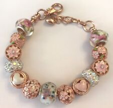 ❤️European CHARM BEADS Bracelet ~ Rose Gold Plated Beads & Chain ~ Pink Fancy❤️