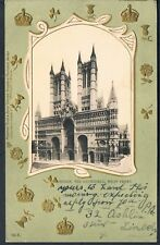 EMBOSSED EARLY TUCK UNDIVIDED POSTCARD 1903 LINCOLN CATHEDRAL WEST FRONT 1/6