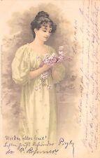 AK Litho. Meissner & Buch M&B Nr. 1081 Am Blütenhain, Mädchen Bahnpost Triptis-