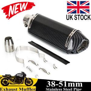 Universal 38-51mm Motorbike Motorcycle Exhaust Muffler Pipe Slip-On Carbon Fiber